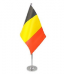 Belgium Desk / Table Flag with chrome stand and base.